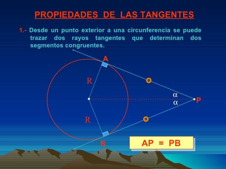 1.-  Desde un punto exterior a una circunferencia se puede trazar dos rayos tangentes que determinan dos segmentos congrue...