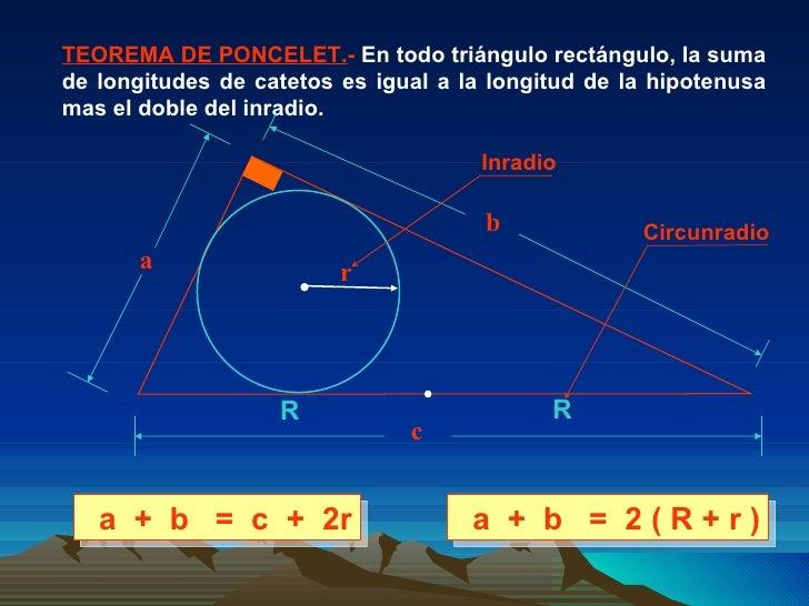 TEOREMA DE PONCELET. -  En todo triángulo rectángulo, la suma de longitudes de catetos es igual a la longitud de la hipote...