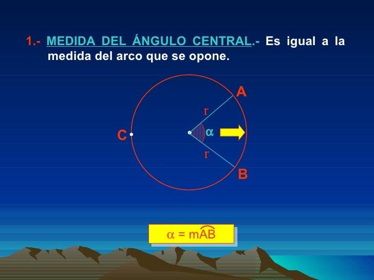 1.-  MEDIDA DEL ÁNGULO CENTRAL .-  Es igual a la  medida del arco que se opone.  A B C r r    = mAB