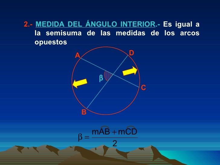 2.-  MEDIDA DEL ÁNGULO INTERIOR .-  Es igual a la semisuma de las medidas de los arcos opuestos  A C B D