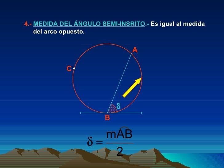 4.-  MEDIDA DEL ÁNGULO SEMI-INSRITO .-  Es igual al medida del arco opuesto.  A B C