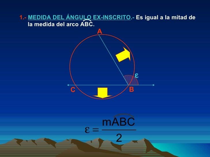  A B C 1.-  MEDIDA DEL ÁNGULO EX-INSCRITO .-  Es igual a la mitad de la medida del arco ABC.