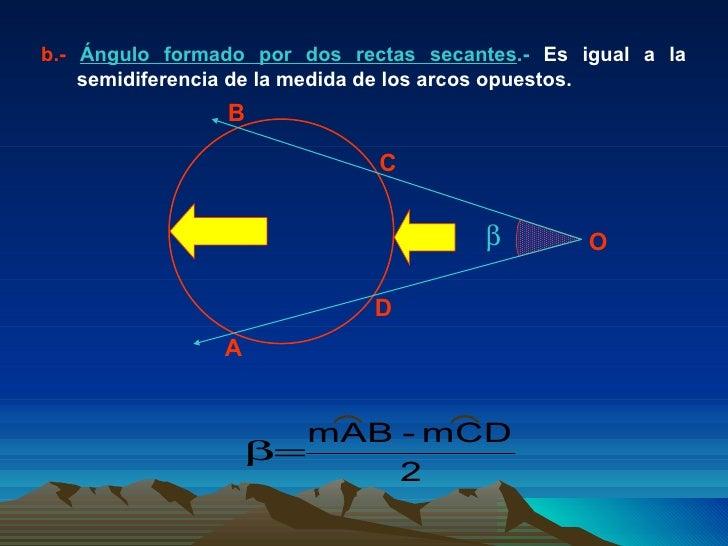 b.-   Ángulo formado por dos rectas secantes .-  Es igual a la semidiferencia de la medida de los arcos opuestos.  A B C ...