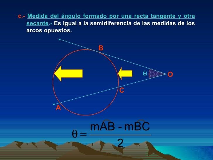 c.-  Medida del ángulo formado por una recta tangente y otra secante .-  Es igual a la semidiferencia de las medidas de lo...