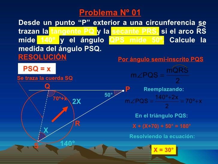 140° 2X X + (X+70) + 50° = 180° X = 30° Por ángulo semi-inscrito PQS  Problema Nº 01 RESOLUCIÓN Reemplazando: En el triáng...