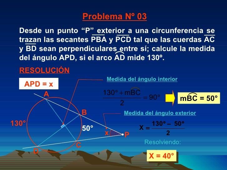130° X = 40° 50° Problema Nº 03 RESOLUCIÓN Resolviendo: APD = x x A C B D P Medida del ángulo interior Medida del ángulo e...