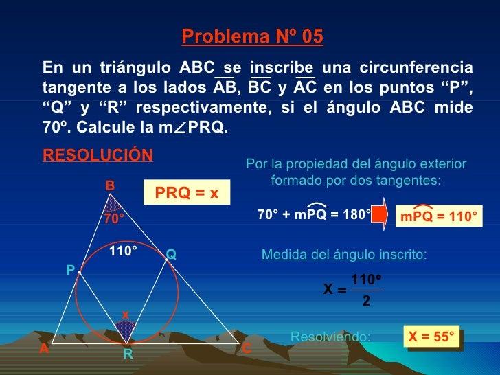 Medida del ángulo inscrito : X = 55° 110° Problema Nº 05 RESOLUCIÓN PRQ = x Por la propiedad del ángulo exterior formado p...