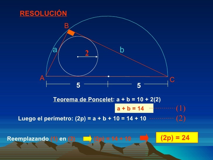 Teorema de Poncelet : a + b = 10 + 2(2)  Luego el perímetro: (2p) = a + b + 10 = 14 + 10  (2p) = 24  RESOLUCIÓN a + b = 14...