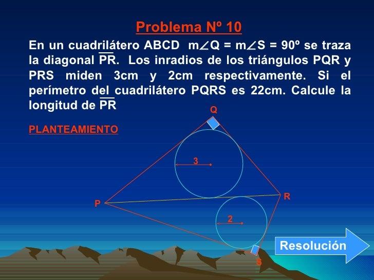 PLANTEAMIENTO Problema Nº 10 P Q R S 2 3 En un cuadrilátero ABCD  m  Q = m  S = 90º se traza la diagonal PR.  Los inradi...