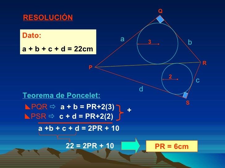 Teorema de Poncelet:  PQR      a + b = PR+2(3) a +b + c + d = 2PR + 10 PR = 6cm Dato:   a + b + c + d = 22cm  PSR     ...