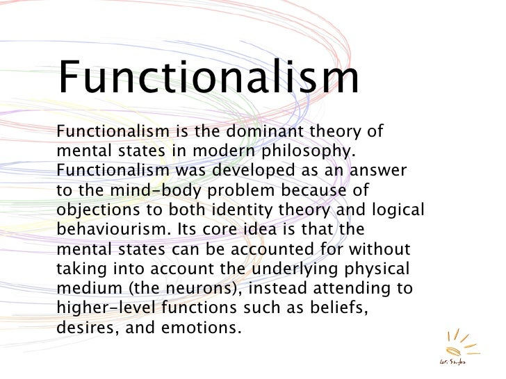 behaviorism functionalism and the identity theory essay This paper provides a brief overview and discussion of several major crime theories including differential association/learning theory, developmental theories, social learning/subculture theory, routine activities theory, social learning/social bond theory, general theory, and techniques of neutralization theory.