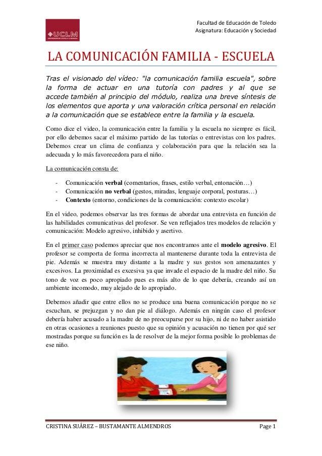 Facultad de Educación de Toledo                                                         Asignatura: Educación y SociedadLA...