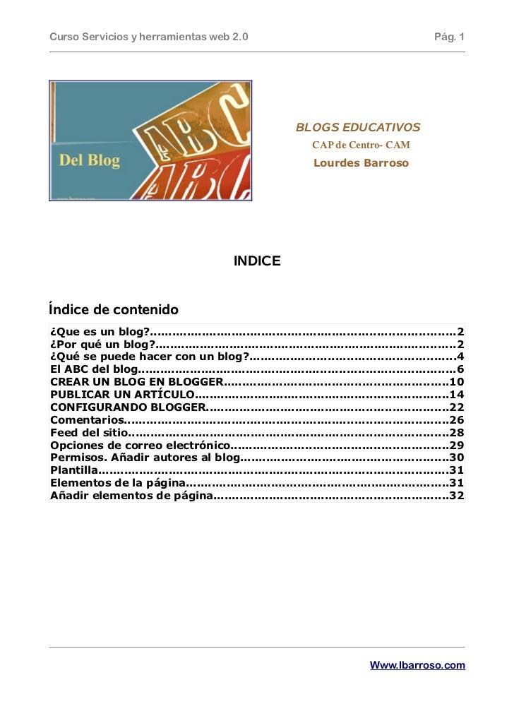 Curso Servicios y herramientas web 2.0                                                           Pág. 1                   ...