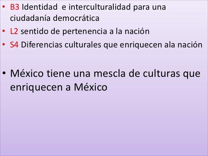 B3 Identidad  e interculturalidad para una ciudadanía democrática<br />L2 sentido de pertenencia a la nación<br />S4 Difer...