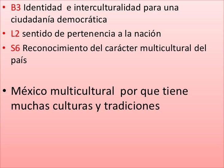 B3 Identidad  e interculturalidad para una ciudadanía democrática<br />L2 sentido de pertenencia a la nación<br />S6 Recon...