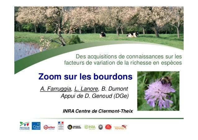 Des acquisitions de connaissances sur les  facteurs de variation de la richesse en espèces  Zoom sur les bourdons  A. Farr...