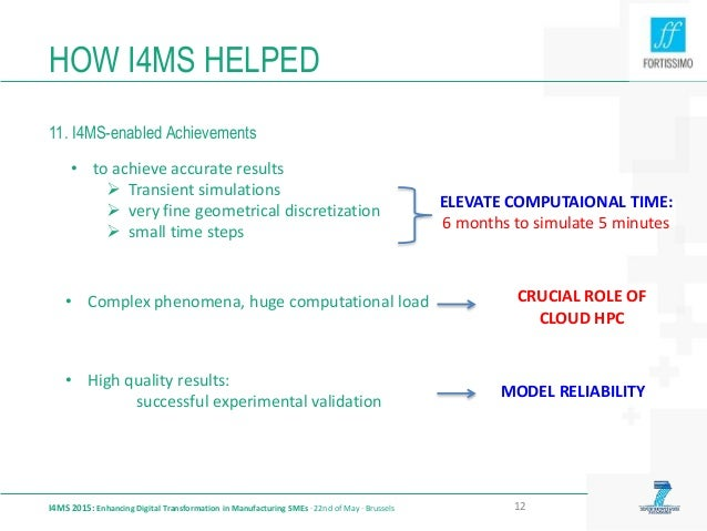 HOW I4MS HELPED 11. I4MS-enabled Achievements I4MS 2015: Enhancing Digital Transformation in Manufacturing SMEs · 22nd of ...