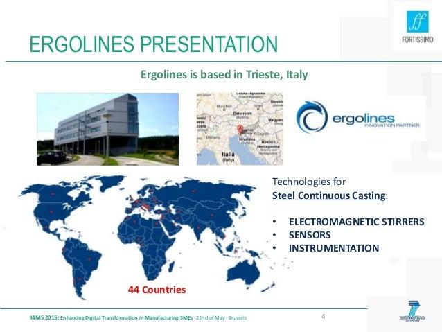 ERGOLINES PRESENTATION I4MS 2015: Enhancing Digital Transformation in Manufacturing SMEs · 22nd of May · Brussels 4 Ergoli...