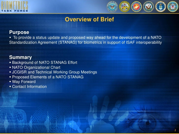 Us Position On Nato Standardization Agreement For Biometrics