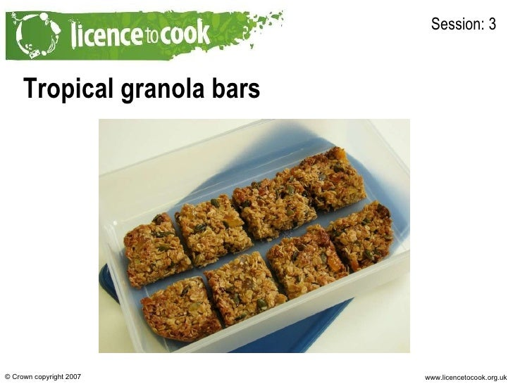Tropical granola bars Session: 3