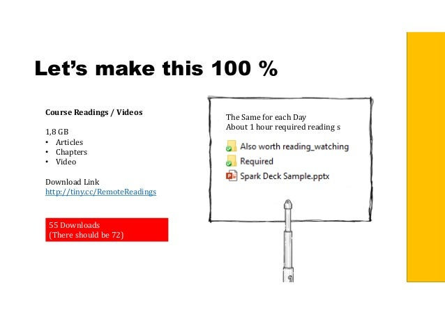 Let's make this 100 % CourseReadings/Videos 1,8 GB • Articles • Chapters • Video Download Link http://tiny.cc/RemoteRe...
