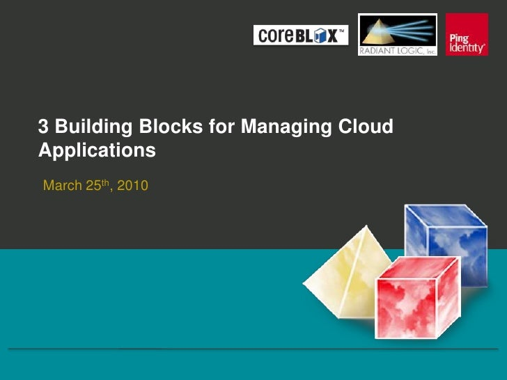 3 Building Blocks for Managing Cloud Applications<br />March 25th, 2010<br />