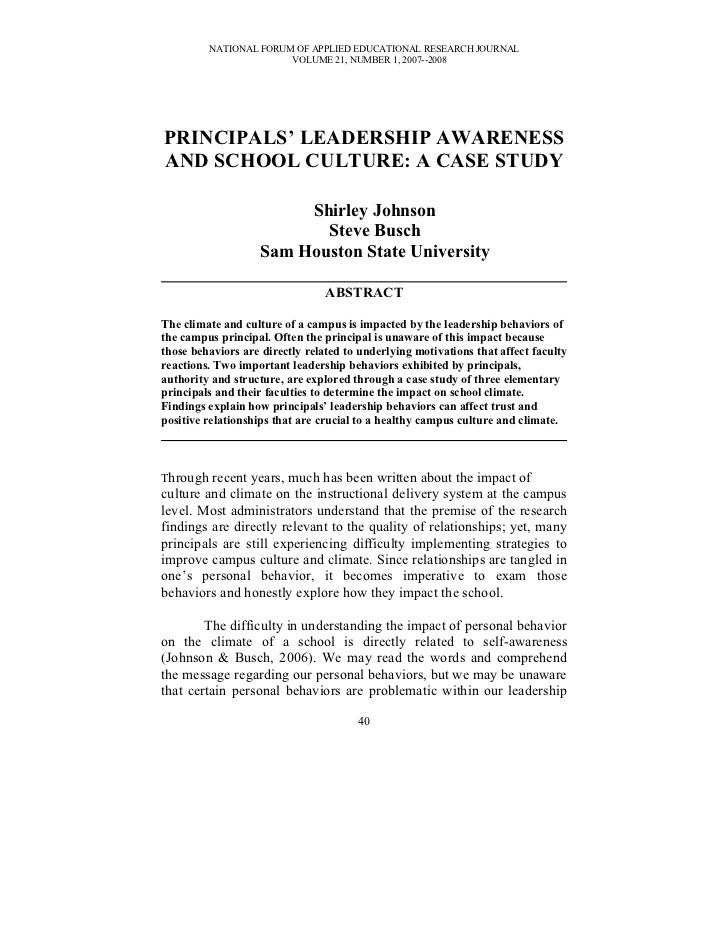 NATIONAL FORUM OF APPLIED EDUCATIONAL RESEARCH JOURNAL                       VOLUME 21, NUMBER 1, 2007--2008PRINCIPALS' LE...