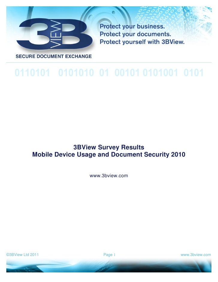 3BView Survey Results            Mobile Device Usage and Document Security 2010                             www.3bview.com...