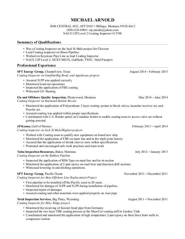 michael j  arnold u0026 39 s resume  nace cip level 2 coating