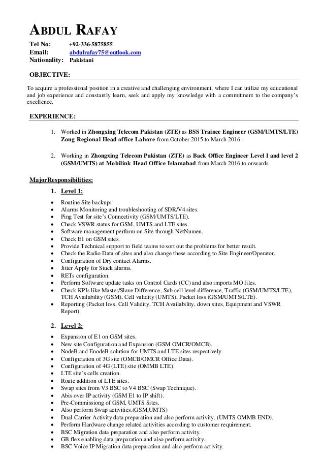 ABDUL RAFAY Tel No: +92-336-5875855 Email: abdulrafay75@outlook.com Nationality: Pakistani OBJECTIVE: To acquire a profess...