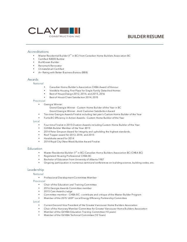 Home Builder Resume Clay Construction