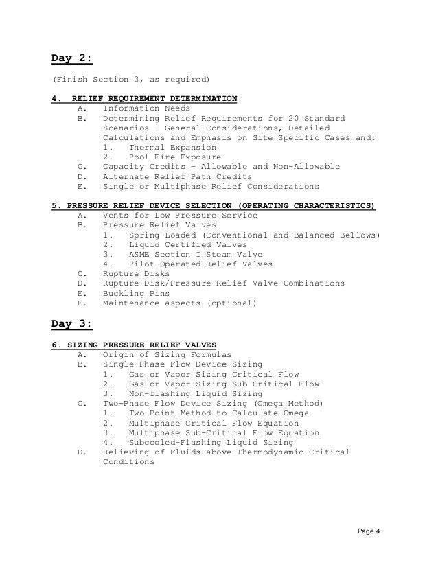 Relief System Design Agenda  Seminar Outline