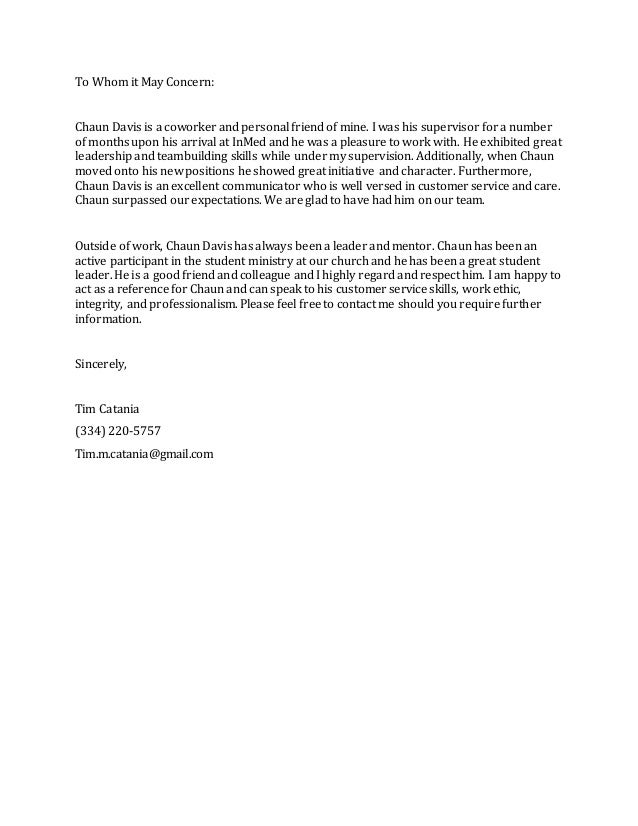 Reference Letter Chaun Davis - Tim Catania