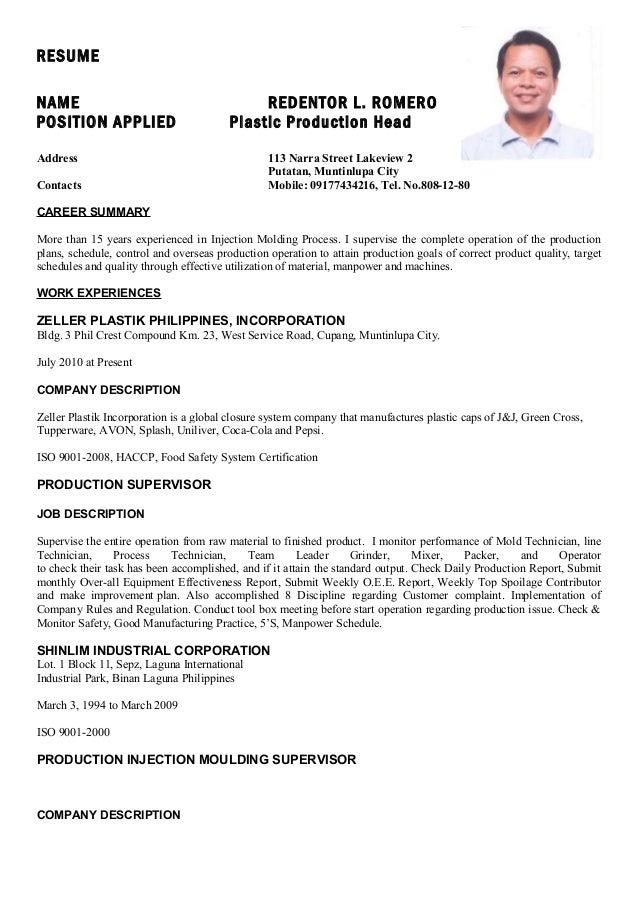 plastic injection machine operator resume researchon web