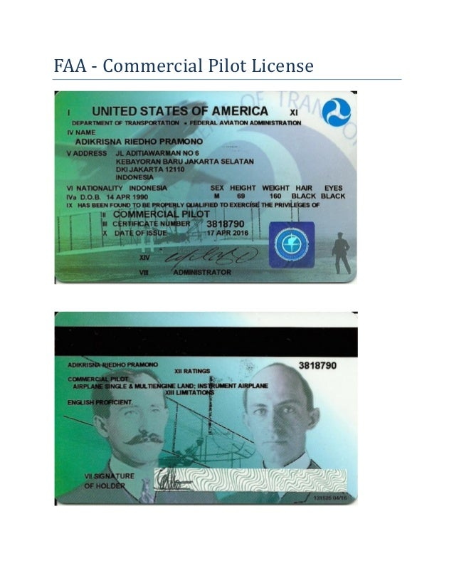 FAA Commercial Pilot License - Adikrisna R. Pramono