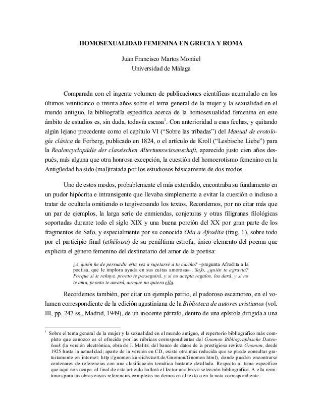 HOMOSEXUALIDAD FEMENINA EN GRECIA Y ROMA                                       Juan Francisco Martos Montiel              ...