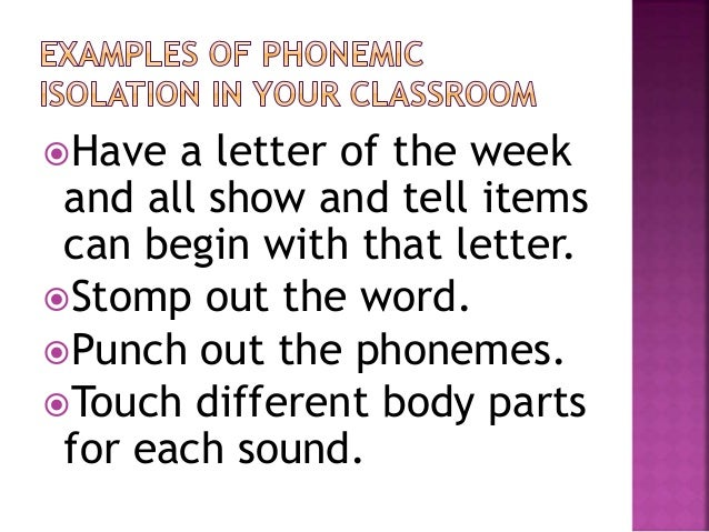 Using the ponents of Phonemic Awareness