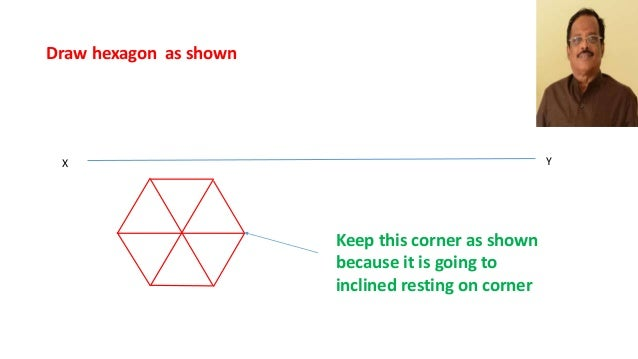 Projection of hexagonal pyramid step by step by process