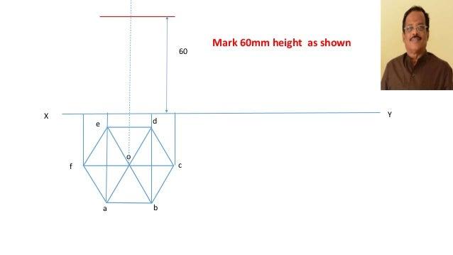 how to draw hexagonal pyramid net