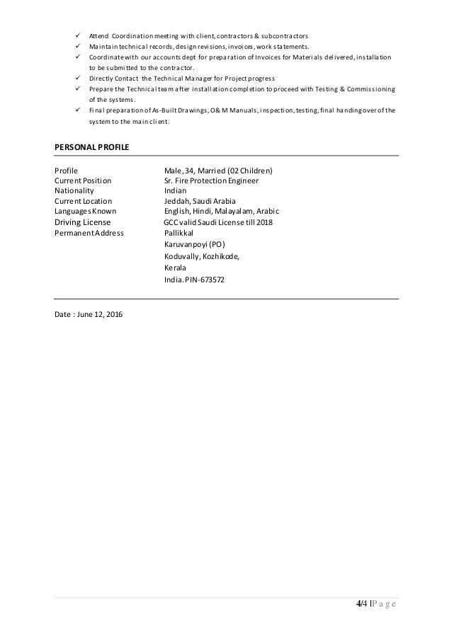 4 - Certified Fire Protection Engineer Sample Resume