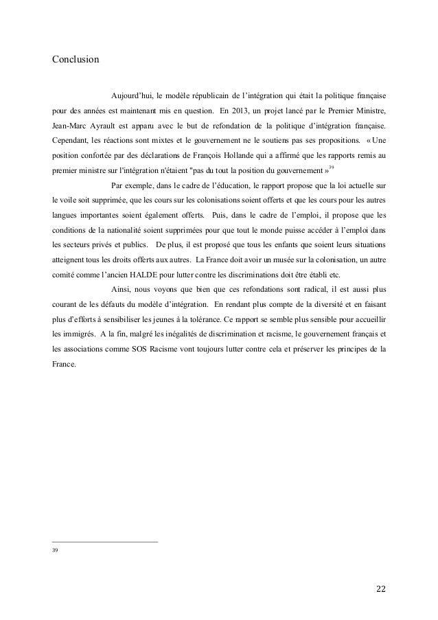 22   Conclusion Aujourd'hui, le modèle républicain de l'intégration qui était la politique française pour des années e...