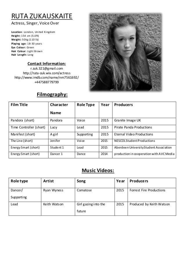 actress resume - Ideal.vistalist.co