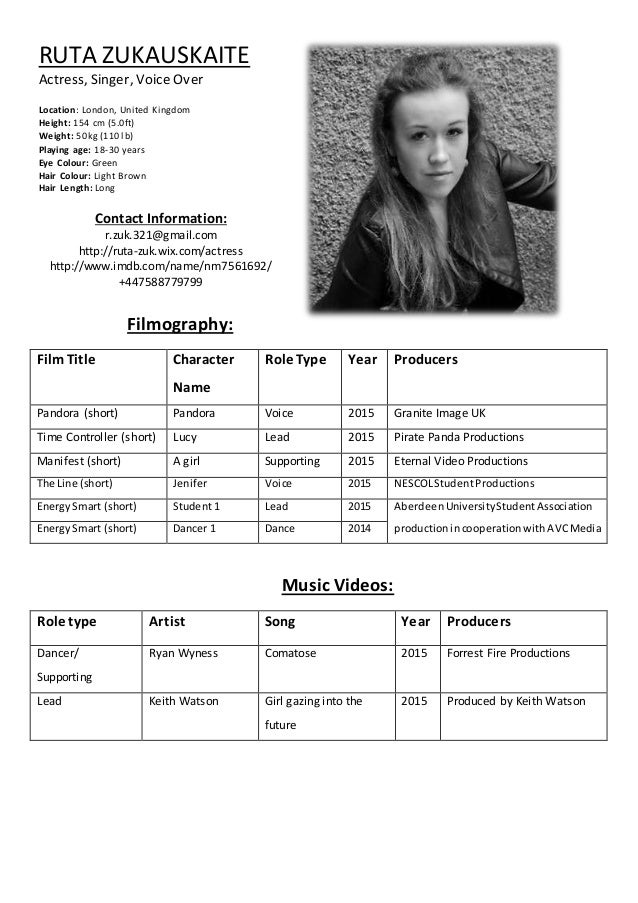 Ruta zukauskaite acting resume for Actors cv template free