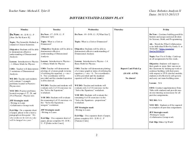 Differentiated Lesson Plan for week (11) ending on 2011:15