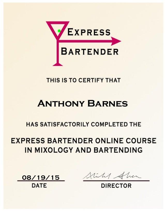 Express Bartender Certificate Anthony Barnes