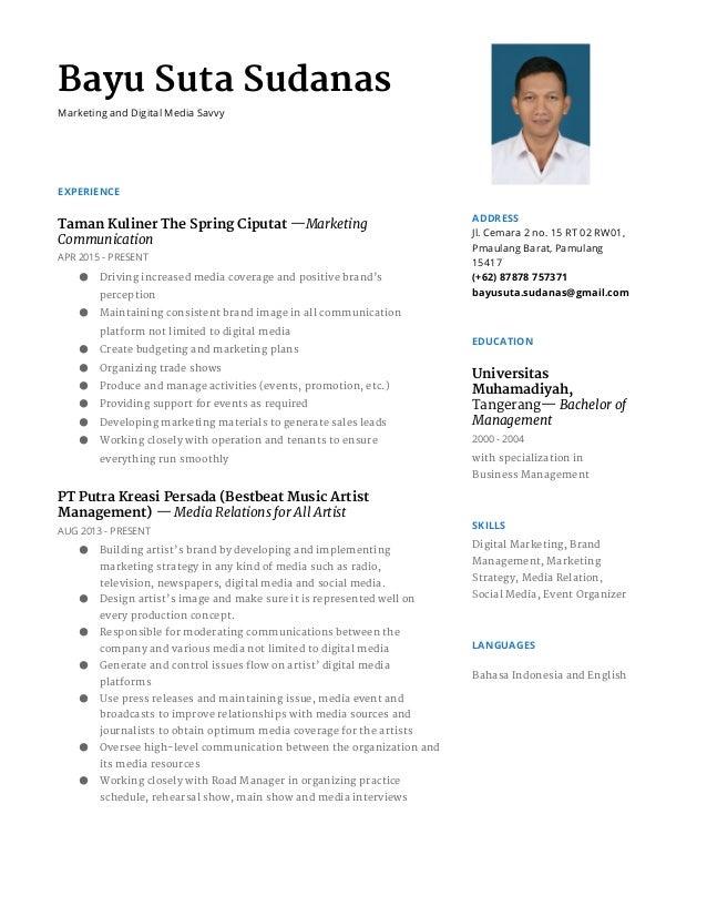Bayu Suta Sudanas Marketing and Digital Media Savvy EXPERIENCE Taman Kuliner The Spring Ciputat—Marketing Communication ...