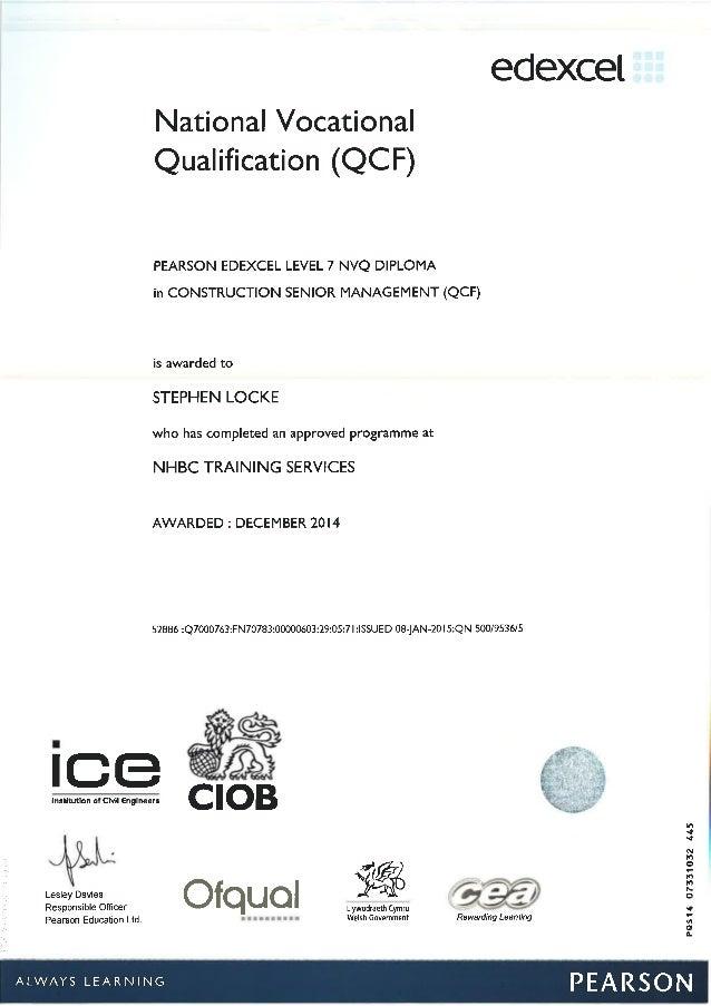 NVQ 7 Construction Senior Management Certificate