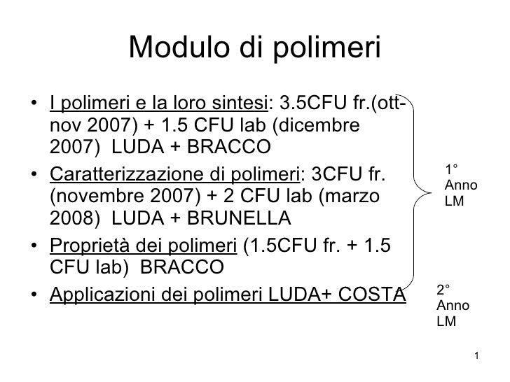 Modulo di polimeri <ul><li>I polimeri e la loro sintesi : 3.5CFU fr.(ott-nov 2007) + 1.5 CFU lab (dicembre 2007)  LUDA + B...
