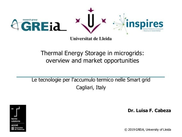 © 2019 GREiA, University of Lleida Thermal Energy Storage in microgrids: overview and market opportunities Le tecnologie p...