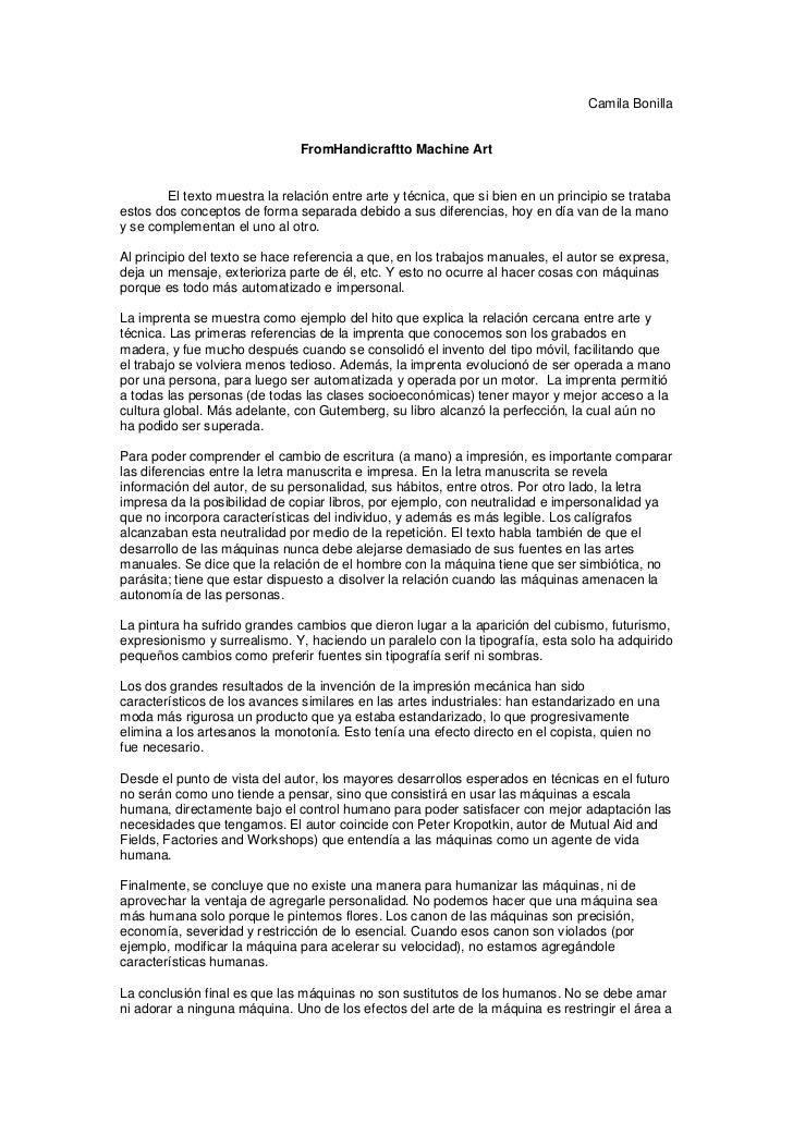 Camila Bonilla                               FromHandicraftto Machine Art        El texto muestra la relación entre arte y...